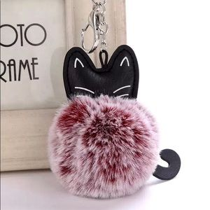 Accessories - Kitten Pom Pom red valentine purse bag fur gift